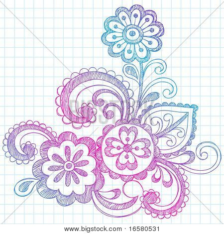 Hand-Drawn Abstract Paisley Flowers Sketchy Notebook Doodles Design Element on Graph Paper Background- Vector Illustration