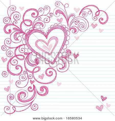 Hand-Drawn Valentine's Day Hearts Sketchy Notebook Doodles on Lined Paper- Vector Illustration Design Elements