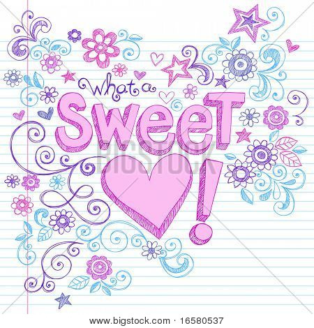 Hand-Drawn Sweetheart Letting and Flowers Sketchy Notebook Doodles Design Elements on Lined Paper Background- Vector Illustration