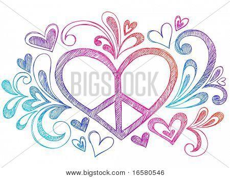 Hand-Drawn Peace Sign Heart Sketchy Notebook Doodles Design Element- Vector Illustration