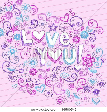 Hand-Drawn Love You! Lettering and Flowers Sketchy Notebook Doodles Design Elements on Pink Lined Paper Background- Vector Illustration
