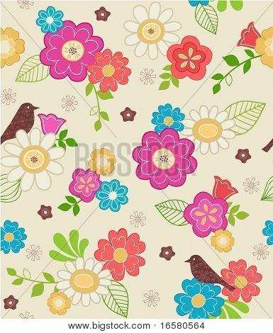 Hand-Drawn Floral & Bird Seamless Repeat Pattern-$4 in Spring Wings Design Collection Series- Vector Illustration