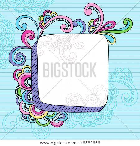 Handgezeichnete abstrakte psychedelische Notebook Doodles Design Element Rahmen auf dornigen Sketchbook Papier zurück