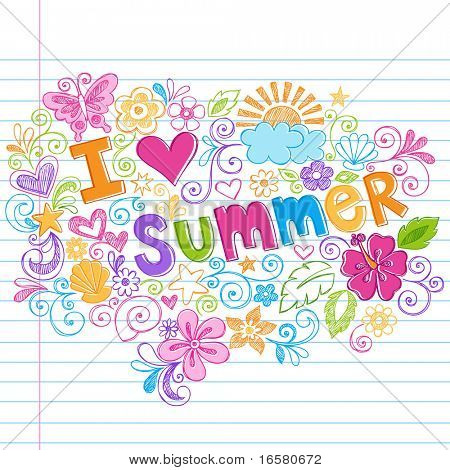 Hand-Drawn I Love Summer Tropical Lettering Sketchy Notebook Doodles Vector Illustration on Lined Sketchbook Paper Background