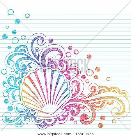Hand-Drawn Shells, Bubbles, and Swirls Tropical Summer Beach Sketchy Notebook Doodles Vector Illustration on Lined Sketchbook Paper Background