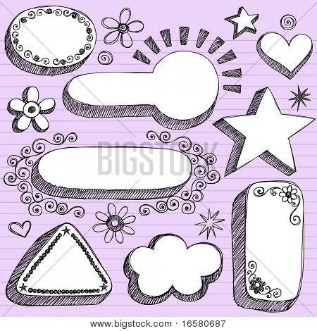 Hand-Drawn Sketchy 3-D Shaped Frames Notebook Doodles on Purple Lined Paper Background- Vector Illustration