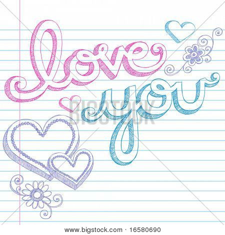 Día amor Valentín Hand Drawn usted Notebook incompletos Doodles rotulación y 3D alineado de forma de corazón en