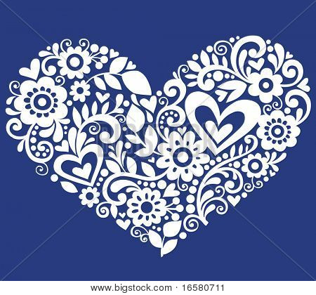Hand-Drawn Flowers, Leaves, and Swirls in the Shape of a Heart- Vector Illustration on Blue Background