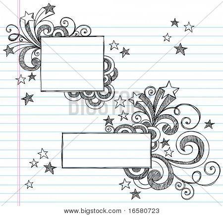 Fronteiras desenhadas à mão com estrelas e redemoinhos esboçado Notebook Doodles ilustração em vetor em desenh forrado
