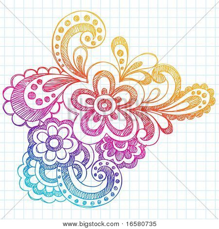 Hand-Drawn Paisley Henna Style Sketchy Notebook Doodles Vector Illustration on Graph (Grid) Sketchbook Paper Background
