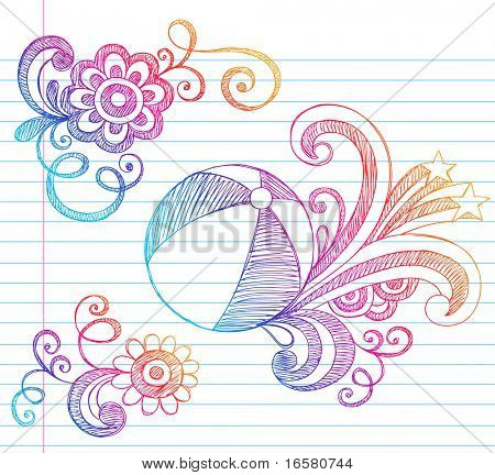 Hand-Drawn Summer Vacation Beach Ball Sketchy Notebook Doodles Vector Illustration on Lined Sketchbook Paper Background