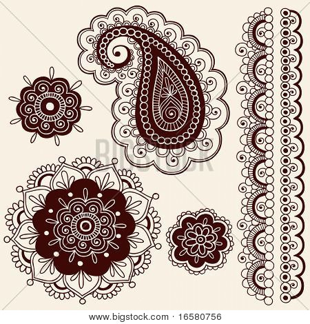 Flores dibujadas a mano abstracta Henna Mehndi y elementos de diseño de ilustración de Vector de Paisley Doodle