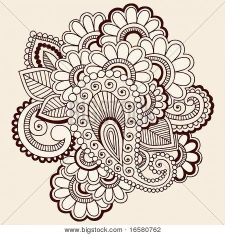 手绘抽象的指甲花手绘佩斯利和花涂鸦矢量图设计元素