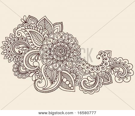 Hand-Drawn Abstract Henna Mehndi Flowers and Paisley Doodle Vector Illustration Design Element