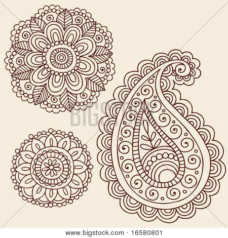 Hand-Drawn Henna Mehndi Tattoo Flowers and Paisley Doodle Vector Illustration Design Elements