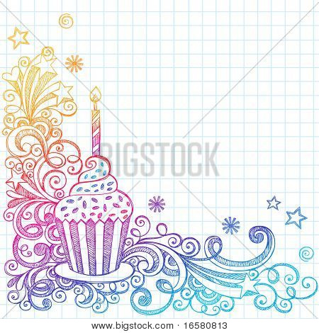 Hand-Drawn Sketchy Ornate Cupcake Doodle Page Border- Notebook Doodles on Grid (Graph) Paper Background- Vector Illustration