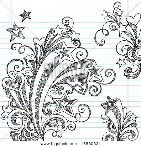 Back Hand Drawn escuela Starbursts, Remolinos, corazones y estrellas Notebook incompletos garabatos Vector Illu