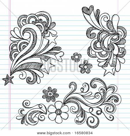 Hand-Drawn Back to School Hearts, Swirls, Flowers, and Stars Sketchy Notebook Doodles Vector Illustration Design Elements on Lined Sketchbook Paper Background