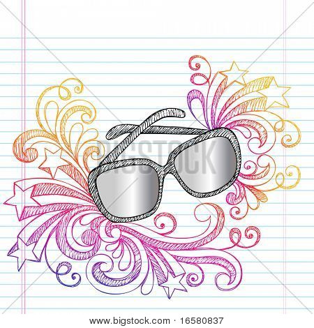 Hand-Drawn Summer Vacation Swirly Sunglasses Sketchy Notebook Doodles Vector Illustration on Lined Sketchbook Paper Background