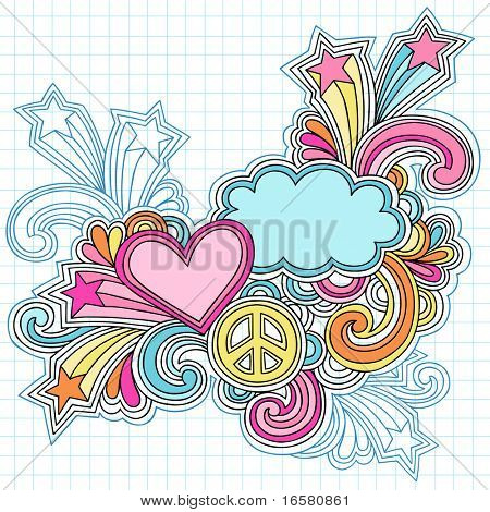 Hand-Drawn Psychedelic Groovy Heart, Clouds, and Peace Sign Notebook Doodles on Graph (Grid) Sketchbook Paper Background- Vector Illustration