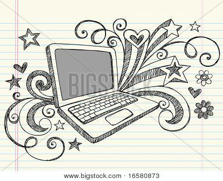 Hand Drawn negocios Laptop computadora Notebook incompletos garabatos con remolinos, corazones y estrellas - Vector