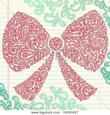 Hand-Drawn Christmas Holiday Henna Paisley Bow Sketchy Notebook Doodles Vector Illustration Design Elements on Lined Sketchbook Paper Background