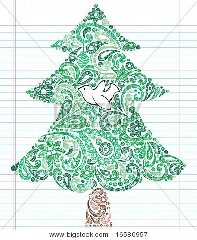 Hand-Drawn Christmas Tree with Dove- Holiday Henna Paisley Notebook Doodles Vector Illustration- Design Elements on Lined Sketchbook Paper Background