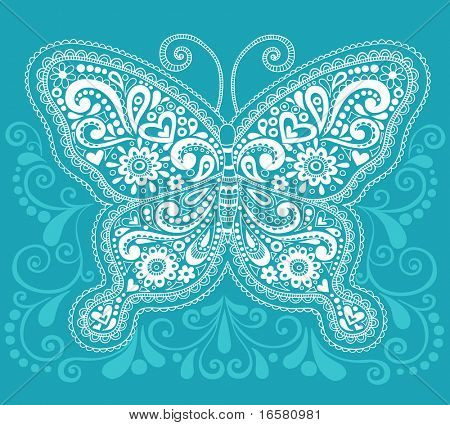 Hand-Drawn Butterfly Henna / Mehndi Paisley Doodle Vector Illustration Design Element