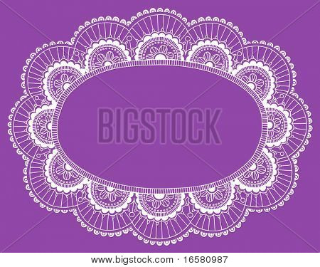 Hand-Drawn Lace Doily Henna / Mehndi Paisley Flower Frame Doodle- Vector Illustration Design Element