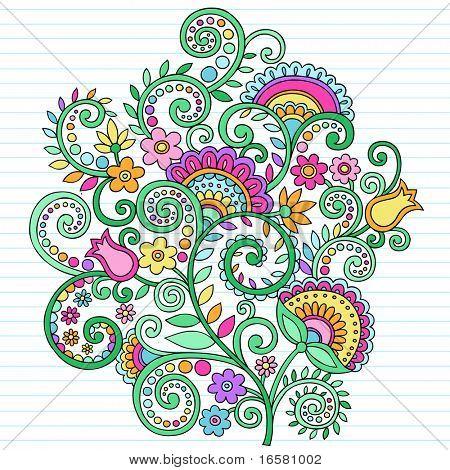 Hand gezogene Blumen und Reben psychedelische groovy Notebook doodles Gestaltungselement auf Liniertes Skizzenbuch