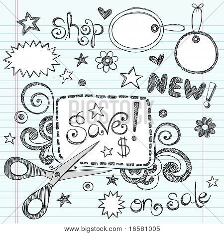 Notebook incompleto Hand Drawn Doodles venta & compras cupón & diseño de ilustración del Vector de etiquetas de ropa