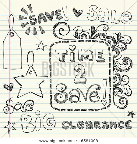 Hand-Drawn Sketchy Notebook Doodles Time to Save Sale & Shopping Coupon & Tags Vector Illustration Design Elements on Lined Sketchbook Paper Background