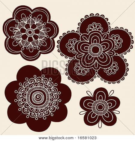 Hand-Drawn Henna Mendhi Mandala Paisley Flower Silhouettes Vector Illustration Design Elements