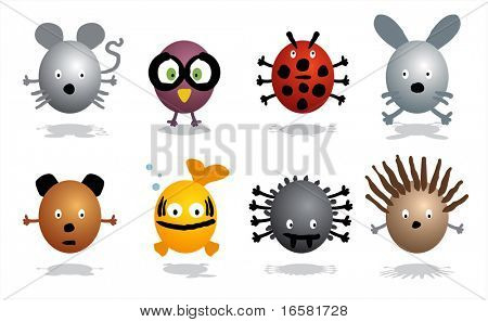 Cartoon characters - animals - wild,insects and pets