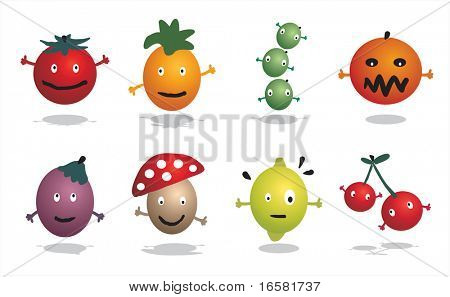 Cartoon characters - food - fruits and vegetables