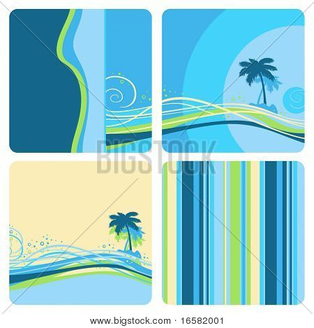 Designed exotic landscape - illustrations - blue -