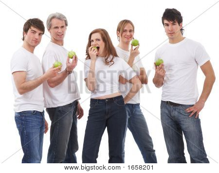 Five People - Five Green Apples