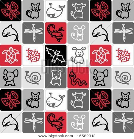animals check pattern - illustrations - icons set -
