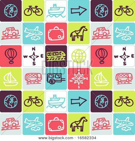 transportation check pattern - illustrations - icons set -