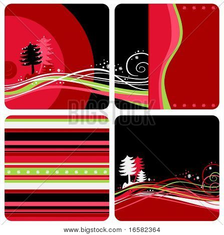 Winter Christmas designs - illustrations - red