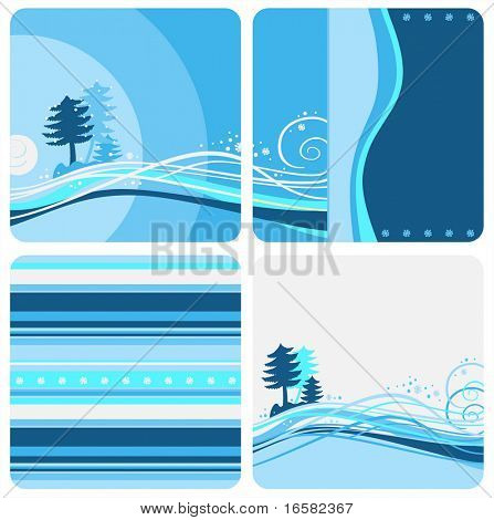 Winter Blue designs - illustrations -blue -