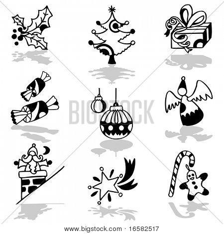 Christmas black and white - illustrations - icons set -