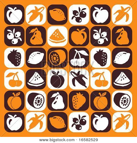 Fruits checked pattern - illustrations - icons set -