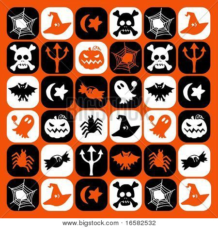 Halloween checked pattern - illustrations - icons set -