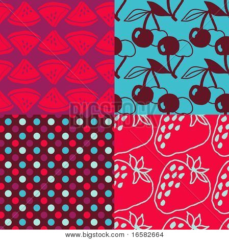 Pop-art seamless pattern - fruits - -
