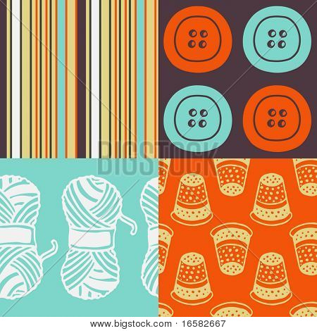 Pop-art seamless pattern - sewing - -
