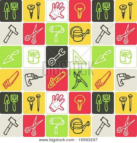 tools check pattern - illustrations - icons set -