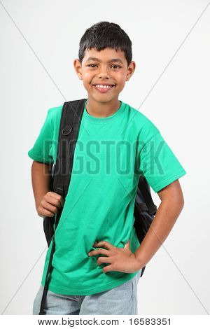 Smiling young school boy