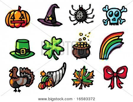 celebrations icons 2 - illustrations - icons set -