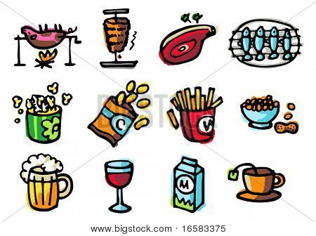 food illustrations 2 - illustrations - icons set -